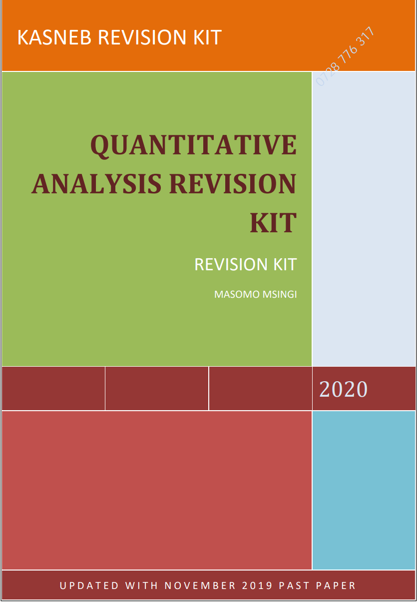 QUANTITATIVE ANALYSIS PAST PAPERS WITH SOLUTIONS